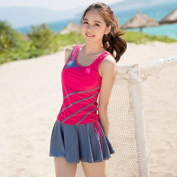 Hot Boxers Striped Sport Three Pieces Vest skirt Tankinis Set Show Thin Swimsuit Bathing Suit For Women Girl Swimwear M-XL