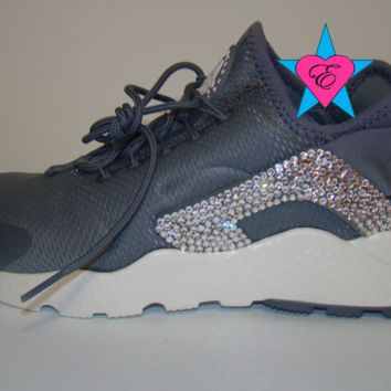 Glitter Crystal Nike Air Huarache Run Ultra Gray