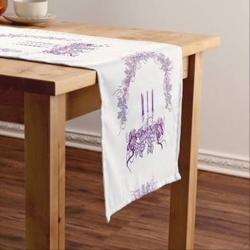 Purple Candles Short Table Runner