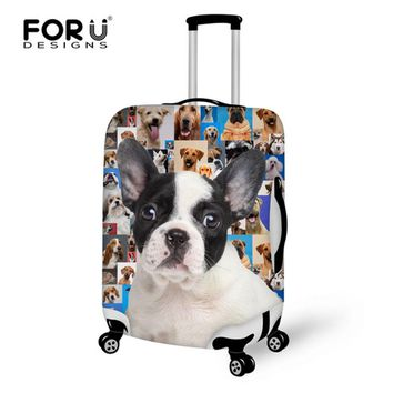 FORUDESIGNS Funny 3D Dog Animal Suitcase Luggage Protective Cover For 18-30 Inch Case Elastic Waterproof Trunk Case Dust Covers