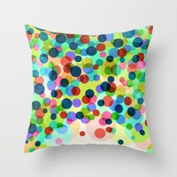 Happy Rainbow Confetti Throw Pillow by Miss L In Art