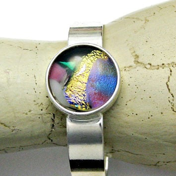 Fused Dichroic Glass Cuff Bracelet