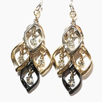 Mixed Metallic and CZ Crystal Geometric Dangle Earrings - ships immed