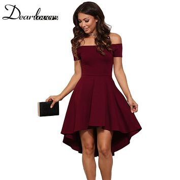 Dear lover Elegant Party Dresses 2017 Burgundy All The Rage Slash Neck Off Shoulder Skater Dress Formal High Low Dresses LC61346