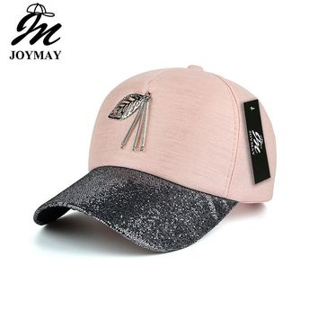 JOYMAY 2017 New arrival high quality fashion women snapback cap metal leaf  bling visor baseball cap  B423