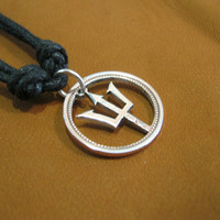 Poseidon's Trident, Barbados copper coin and adjustable necklace