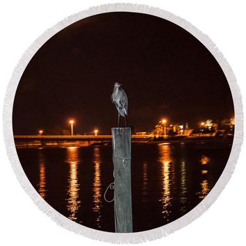 Blue Heron Night - Round Beach Towel
