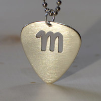 Sterling Silver Guitar Pick Pendant with Personalized Letter Cut Out