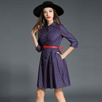 2017 Women Dresses O-Neck Denim Dress Dots Printing Autumn Summer Female Clothes Elegant three-quarter sleeve Vestidos H283