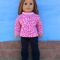 18 Inch Doll Clothes, Pink Animal Print Shirt and Black Leggings, Pink Leopard Print, Safari Print Sweatshirt, Fits American Girl Dolls