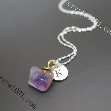twee pure simple amethyst nugget initial necklace