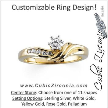 Cubic Zirconia Engagement Ring- The Xena (6-stone with Round Channel Hand-Engraved Band)