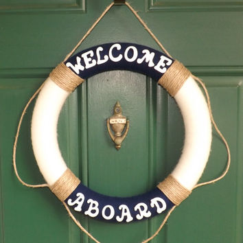 Nautical Life Preserver Yarn Wreath