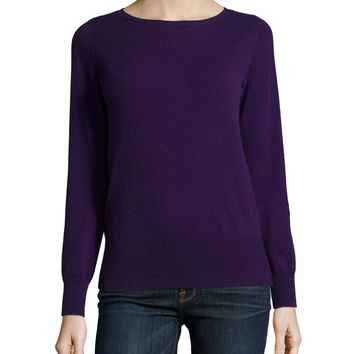 Long-Sleeve Bateau-Neck Cashmere Top, Size: