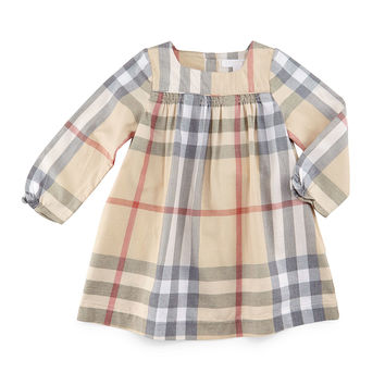 Raegan Check Shift Dress, Pale Stone, Size 3M-3Y,