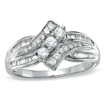 1/2 CT. T.W. Diamond Bypass Three Stone Ring in 10K White Gold