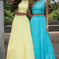 Two Piece Polka Dot Embroidered Prom Dress by Rachel Allan