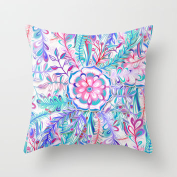 Boho Flower Burst in Pink and Teal Throw Pillow by Micklyn | Society6