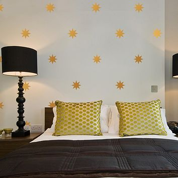 "25 Gold or Silver Metallic 4"" Eight Point Star Vinyl Wall Decals"
