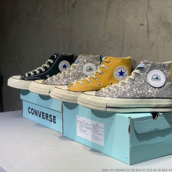 """Converse"" Women Fashion Multicolor Sequin Big Eyes High Help Shoes Casual Flat Shoes"