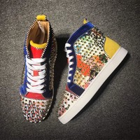 Christian Louboutin Cl Louis Spikes Men's Flat - Best Online Sale