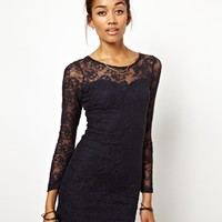 Motel Elsa Dress In Skull Lace - Navy