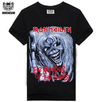 men t-shirts Black rock 100% cotton fashion Iron Maiden rock hip hop t shirts tops male S-XXXL