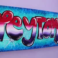 Personalized Art, Kids Room Decor, Teen Painting on Canvas, Graffiti Art, Personalized Painting