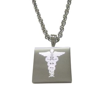 Silver Toned Etched Detailed Caduceus Medical Symbol Pendant Necklace