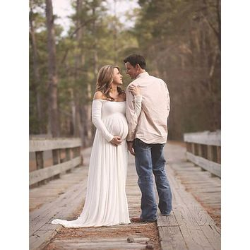 Le Couple Maternity Dress Photo Shoot Maxi Maternity Gown SPLIT FRONT