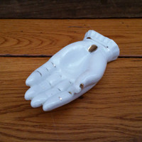 Vintage White Porcelain Hand Trinket Dish Figurine Ash Tray Ring Holder