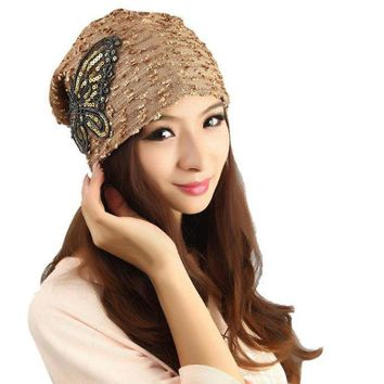 PEAPUNT Best Deal New Good Quality Women's Winter hat Lace Butterfly Beanie Lady Warm Cap Gift 1PC