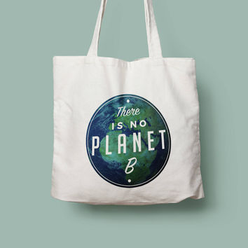 There is no planet B reusable shopping canvas tote bag