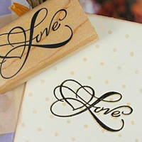 Stamp Wooden Rubber LOVE w/ Heart / Craft Favour Calligraphy Scrapbooking Wedding Party card making Stationery