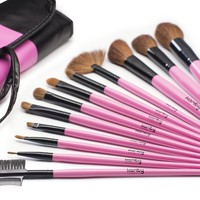 Karity Cosmetics Studio 12 Piece Natural Hair Makeup Brush Set With Pouch pink