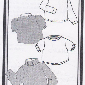 """Pattern for American Girl or other 18"""" doll turtleneck or t shirt tops for knits only short or long sleeved Morrissey 75803"""
