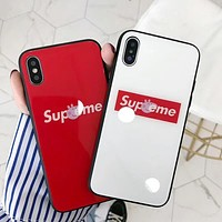 Supreme Stylish Lovely Peppa Pig Letter Pattern Glass iPhone Phone Case 6/7/8Plus iPhone X Phone Shell