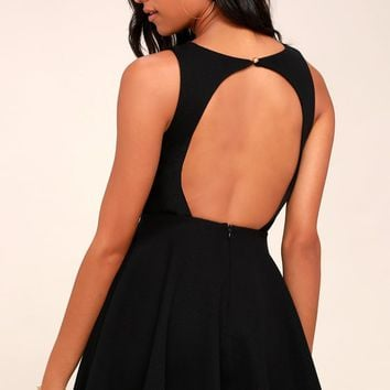 Gal About Town Black Skater Dress