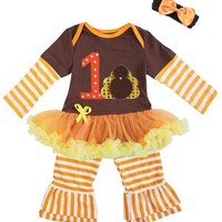 Baby Girl's First Thanksgiving Outfit and Headband Set