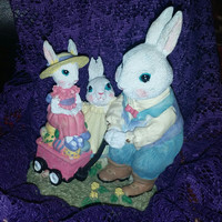 Adorable Victorian Collection Mr. Jack Rabbit w/ Penelope & Prudence Figurine