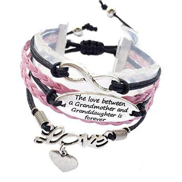DOLON The Love Between The Grandmother And Granddaughter Is Forever Bracelet Adjustable2 Styles