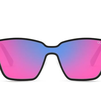 Quay After Dark Black Sunglasses / Purple Pink Mirror Lenses