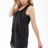 LOVE 21 Beaded Chiffon Shift Dress Black/Gold
