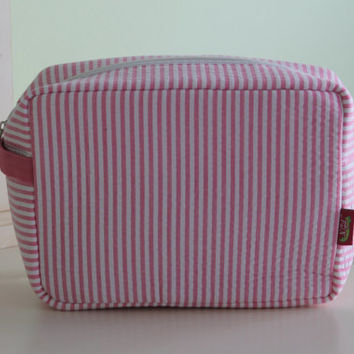 Monogrammed Cosmetic Bag Pink Seersucker Personalized Tote Make Up Bag Brides Bridesmaids Preppy Kaileysmonogram
