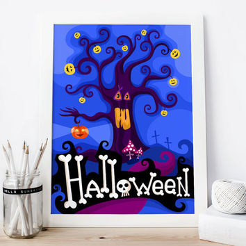 Happy Halloween Print, Happy Halloween Decoration, Halloween Poster, Kids Printable Art, Halloween Room Decor, Pumpkin Print