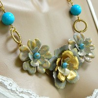 Blue Howlite Flower Statement Necklace Gemstone Chain Short Handmade