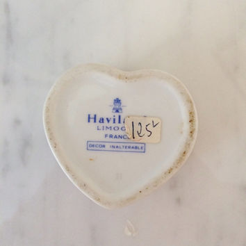 Vintage Haviland Limoges Heart Box , Blue Crimson Heart Box , Hand Painted Porcelain Trinket Box