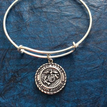 Marine Corp Expandable Charm Bracelets Adjustable Bangle Gift USA Military Jewelry