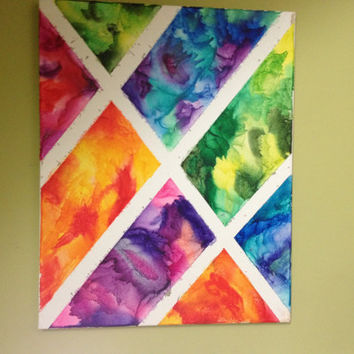 16x20 melted crayon art by TimetostART on Etsy