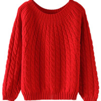 ROMWE Twisted Long Sleeves Red Jumper